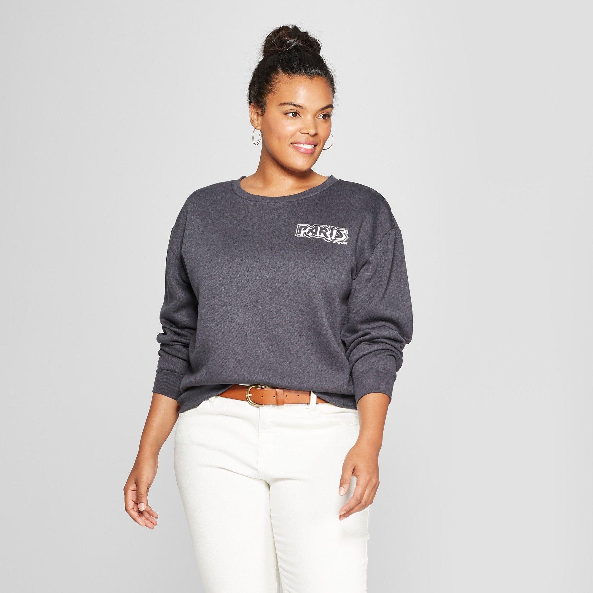 0f66f2db Women's Plus Size Paris France Cropped Graphic Sweatshirt - Mighty Fine  (Juniors') Black 3X