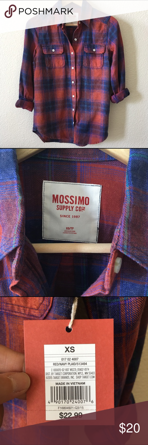 Off white red flannel shirt  Mossimo Red and Navy Flannel Shirt NWT