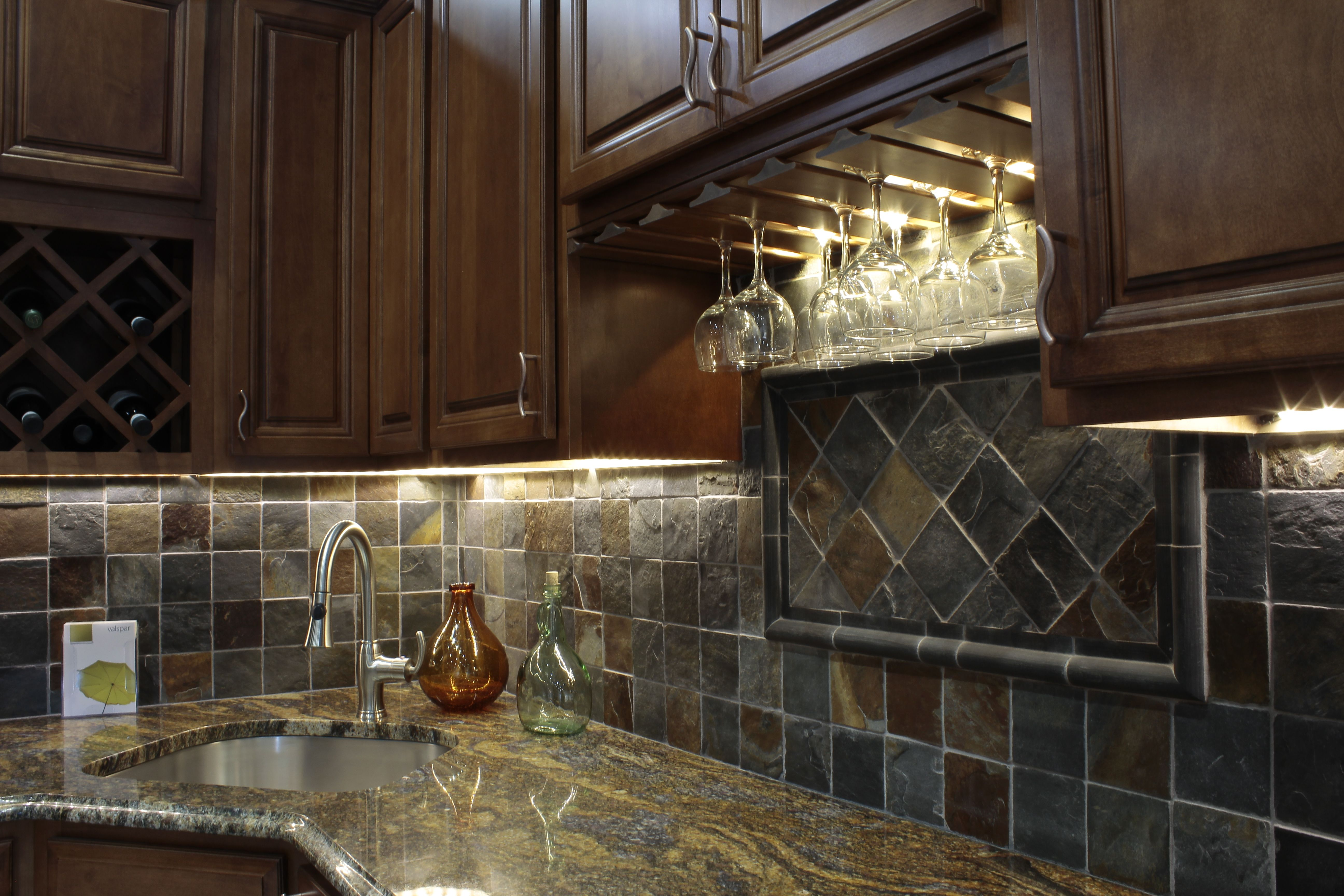 eye catching rustic kitchen cabinets. Kitchen : Furniture Eye Catching Grey Marble Backsplash With Wonderful Staining Oak Cabinets Darker And Rustic E