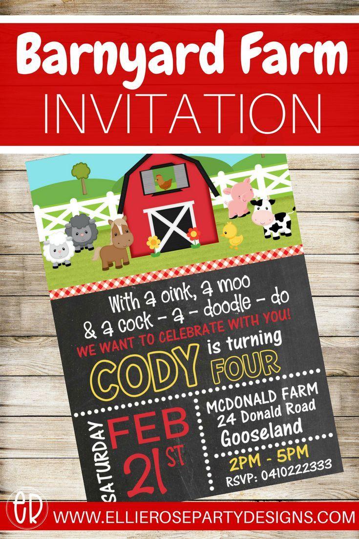 Farm Animal Barnyard Birthday Invitation DIY Printable Invite - Farm ...