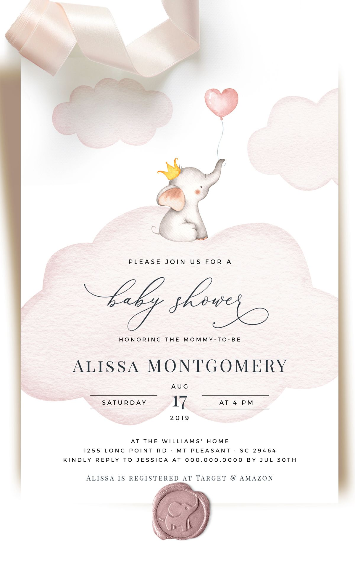 Boy And Girl Baby Shower Invitation Templates Elephant Baby