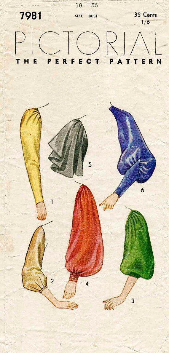 Vintage Sewing Pattern 1930s 30s sleeve set 6 styles bust 36 b36 ...