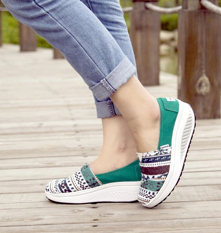 Green Art Pattern Canvas Slip On Rocker Bottom Shoe Rocker Bottom Shoes Shoes Creepers Shoes