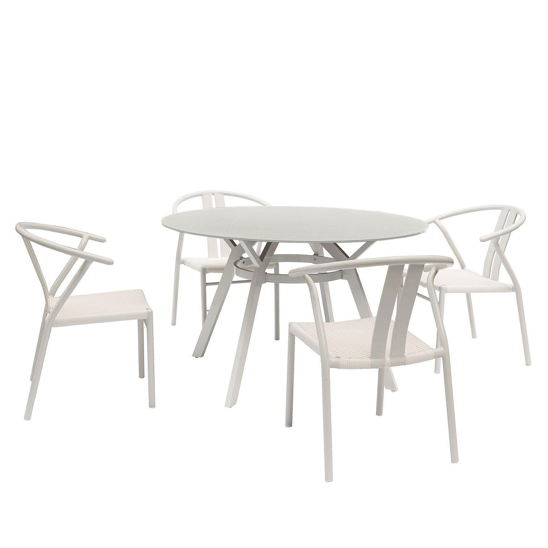 Mesa de comedor Crunx en blanco y Silla Fer en blanco.