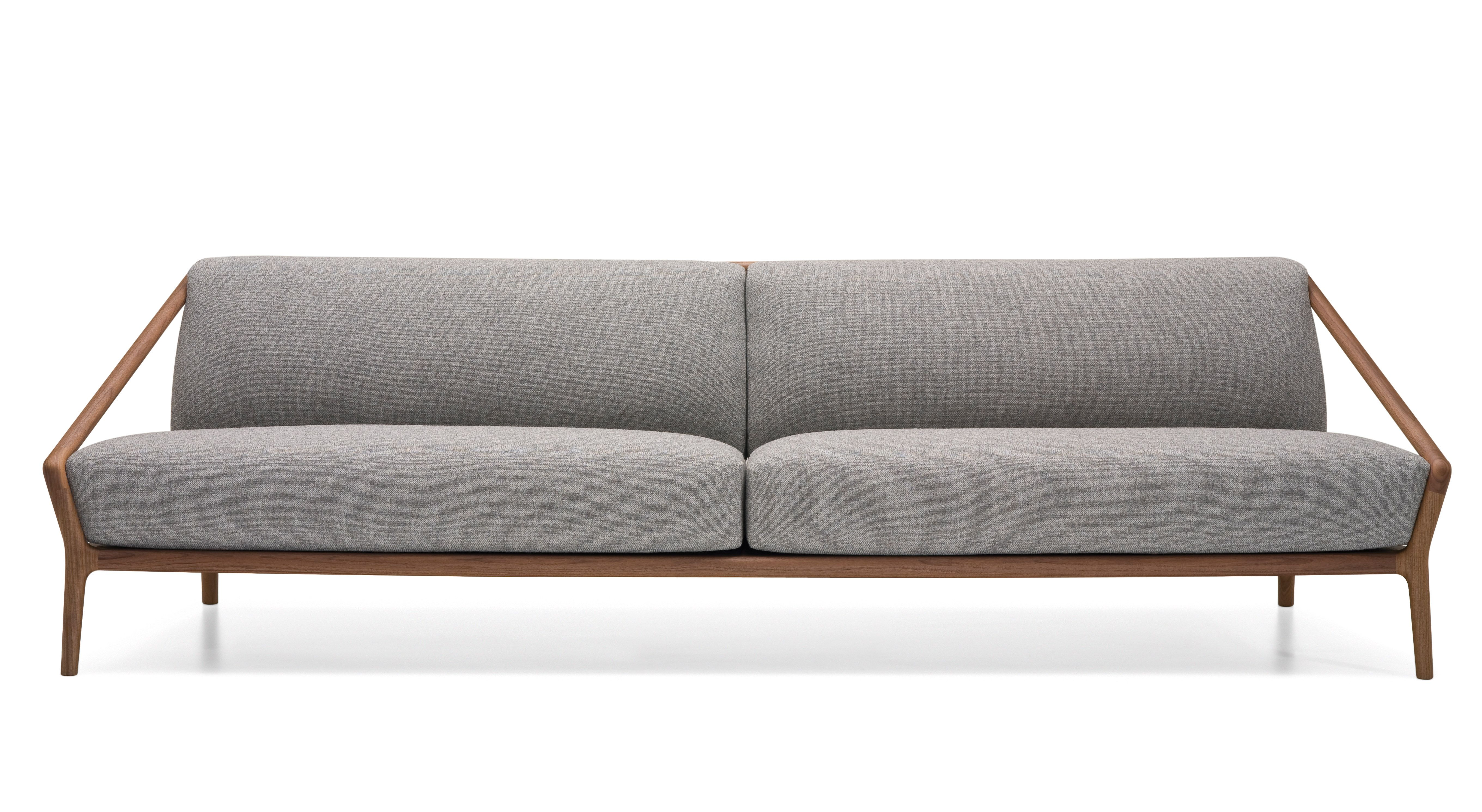 Awesome Grey Leather Sofas With Natural Wooden Frames For Interior