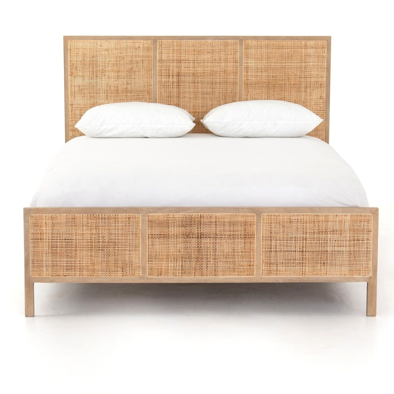 Sydney Woven Cane Queen Platform Bed With Images Rattan Bed