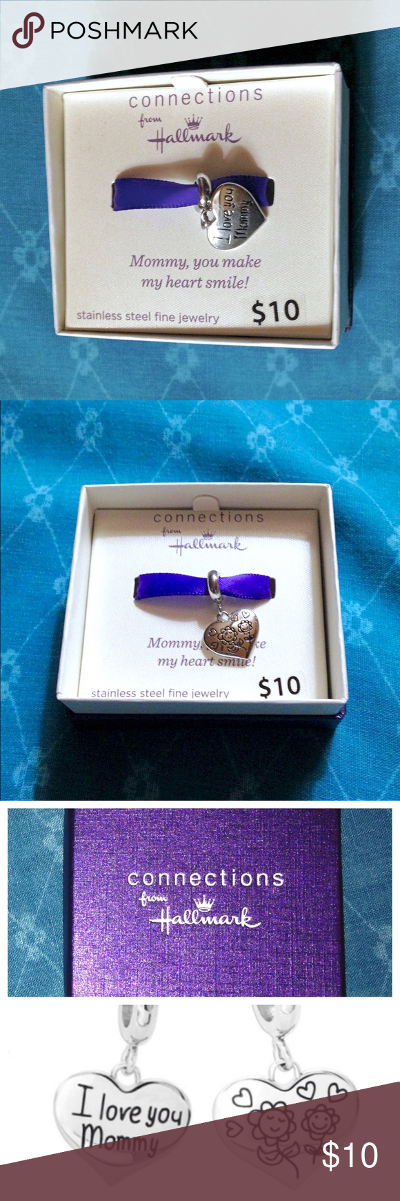 """Connections Hallmark I love you Mommy Heart Charm. Connections from Hallmark Stainless Steel """"I love you Mommy"""" Heart Dangle Charm  """"This elegant Connections from Hallmark Stainless Steel """"I love you Mommy"""" Heart Dangle Charm is a great gift for any occasion.  The reverse side has two smiling flowers and hearts on it.  It comes in a gift box if you want to give it to someone special.""""  Info: •Made by Connections from Hallmark •""""I love you Mommy"""" heart shape dangle charm with flowers…"""