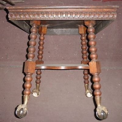 Antique Solid Wood Ball And Claw Foot Tiger Oak Accent
