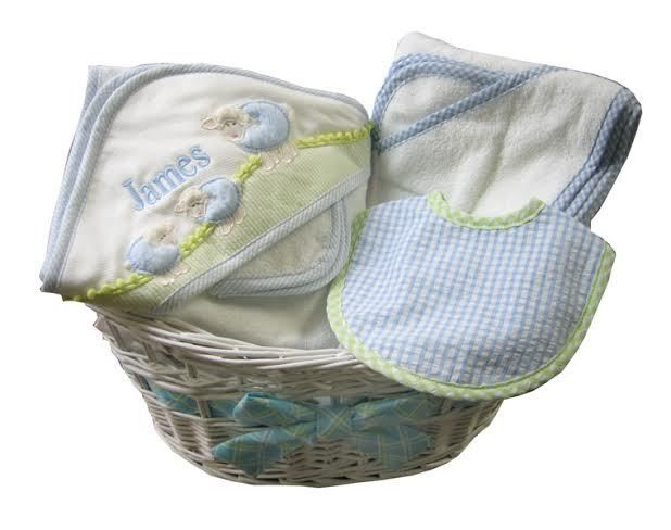 Personalized baby gift basket basket of baby boy towels namely newborns personalized baby gift basket basket of baby boy towels 9495 negle Choice Image