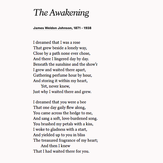 Share James Weldon Johnson S Poem The Awakening At A Wedding Or On Your Anniversary Poems Romantic Poems Poetry Ideas