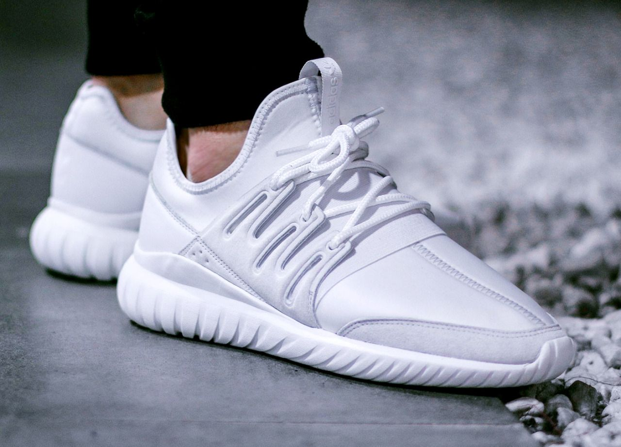 Footwear : Adidas Tubular Radial 'Crystal White' .