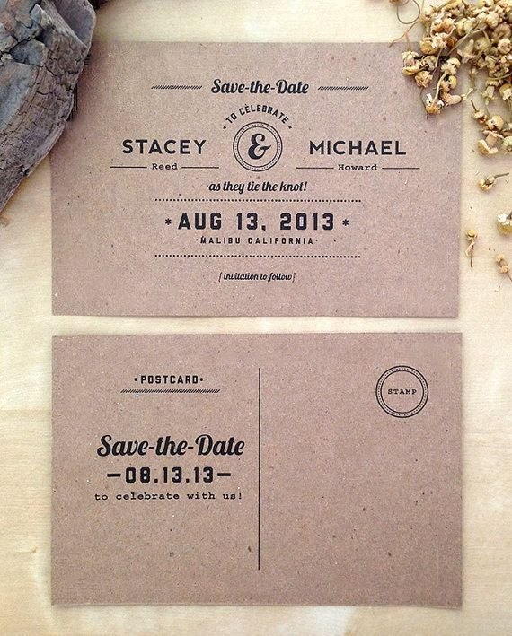 1 50 Each Rustic Kraft Paper Save The Date Postcard Retro Inspired Eco Friendly