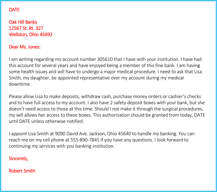 Authorization Letter Sample To Bank