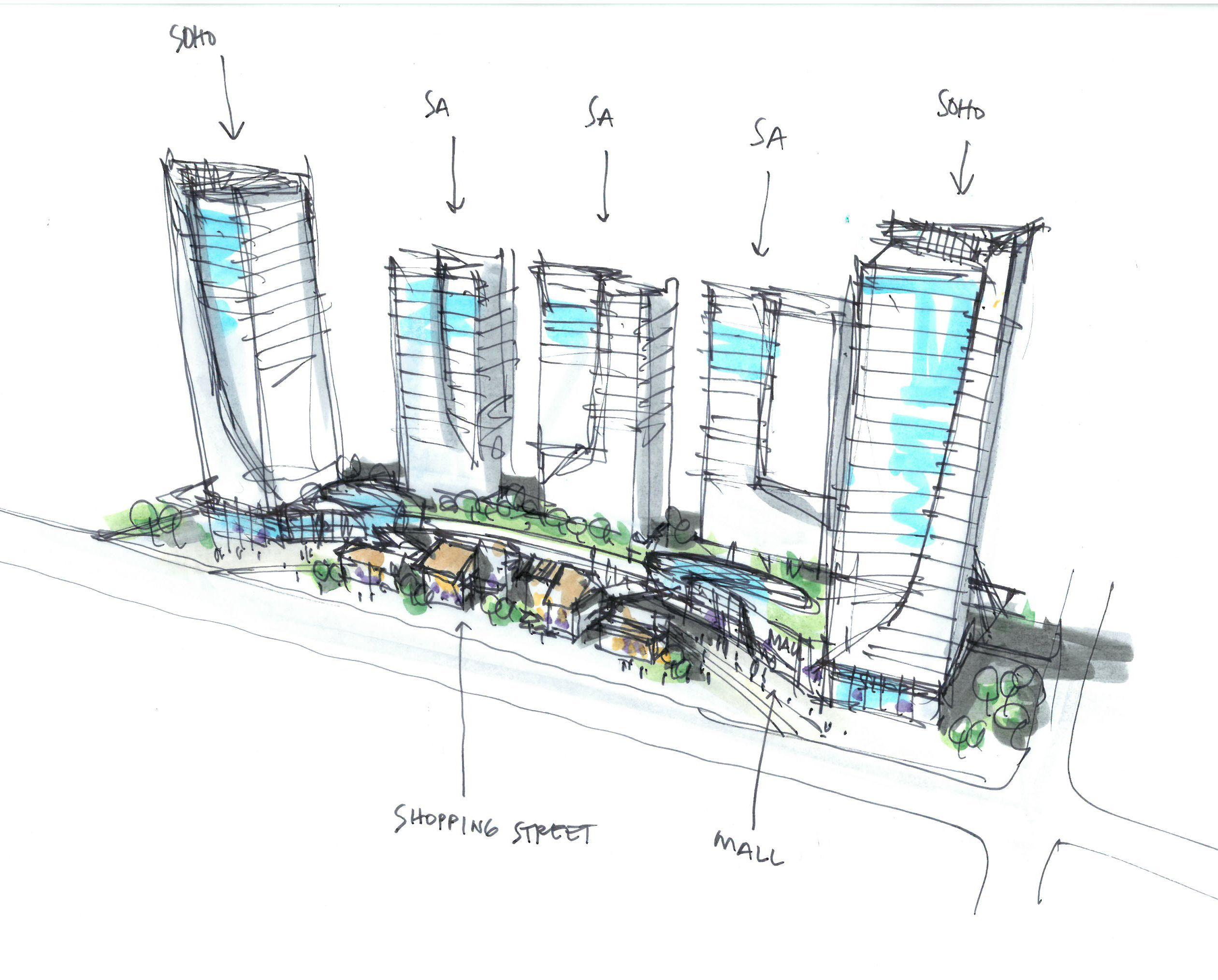 Mixed Use Concept_Randy Carizo | Architecture Sketches L Randy Carizo | Pinterest | Sketches ...