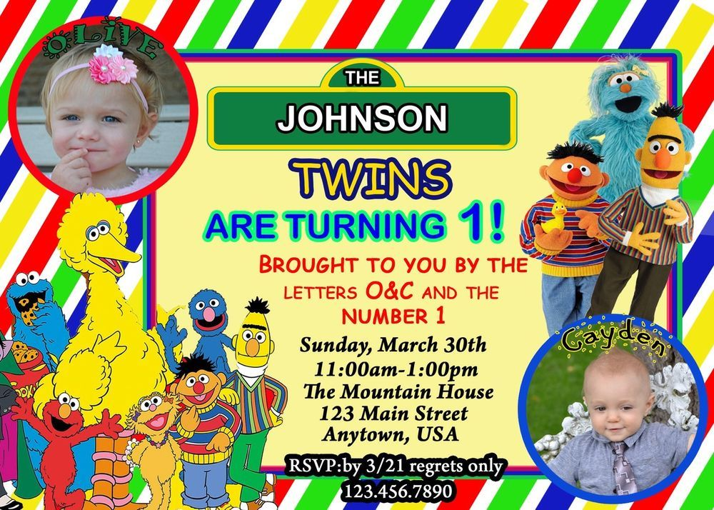 Sesame Street Birthday Invitation, Twins Birthday Invitation | Twin ...