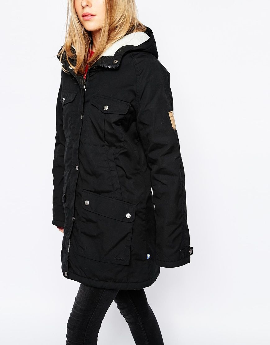 Fjallraven hooded parka coat with borg lining