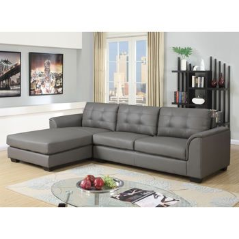 Terrific Montello Grey Leather Air Fabric Sofa With Left Hand Facing Squirreltailoven Fun Painted Chair Ideas Images Squirreltailovenorg