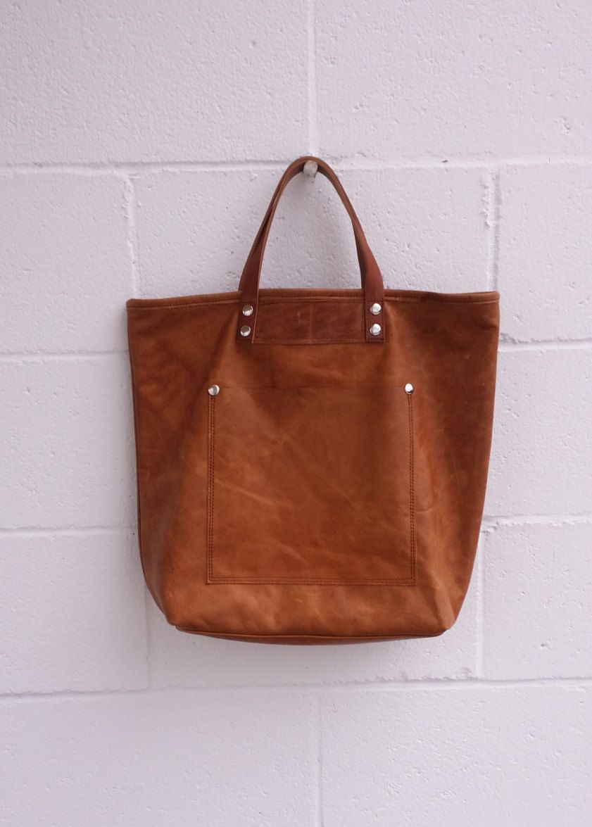 f5345af012 Autumn Brown Distressed Oversize Full Grain Leather Tote Handmade in USA by  jewelrypieces on Etsy