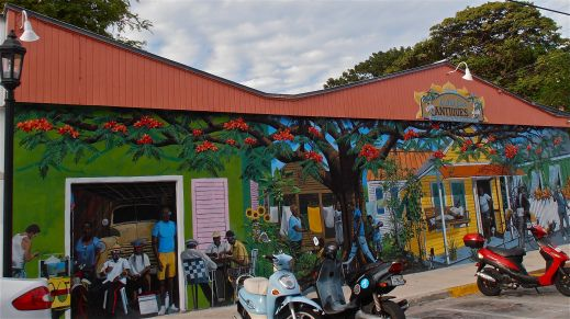 A painted wall in Bahama Village, Key West