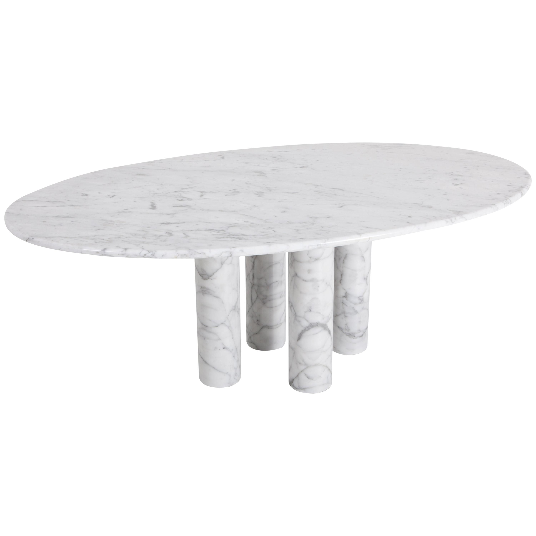 Mario Bellini Il Colonnata Oval Dining Table In Carrara Marble For
