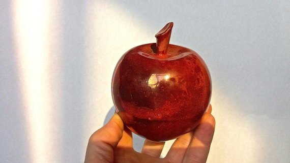 Ceramic Apple Red And Gold Decor For Home Office Ceramic Fruit