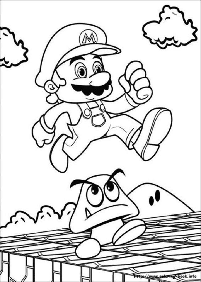 Super Mario Brothers Coloring Page Warna Gambar