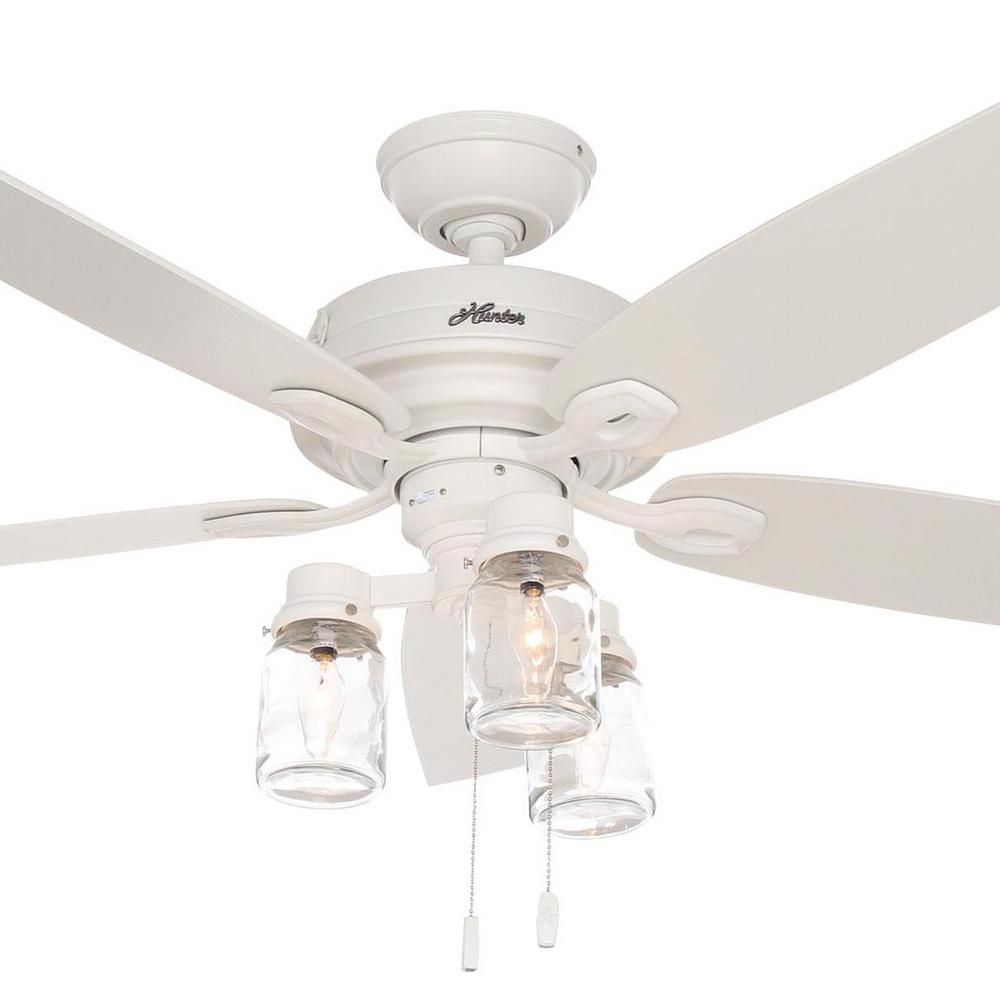 Hunter Crown Canyon 52 In Indoor Fresh White Ceiling Fan 53361 The Home Depot White Ceiling Fan Ceiling Fan Ceiling Fan Makeover 52 inch white ceiling fan