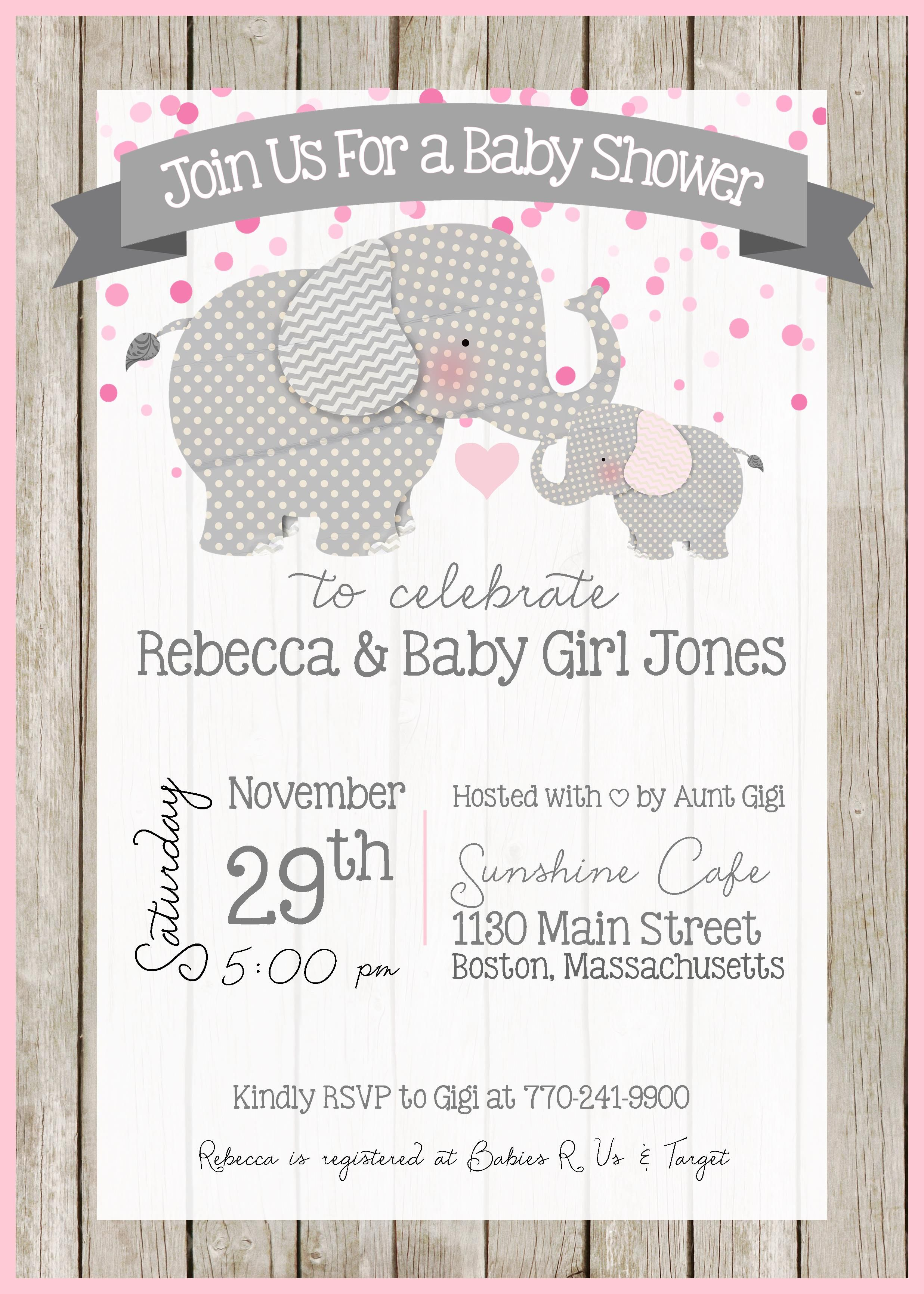 Elephant Baby Shower Invitations For Girls Part - 15: Elephant Baby Shower Invitation - Elephant Theme - Little Peanut - Baby  Shower - Baby Sprinkle - Customize - Printable - 5x7 - Baby Girl