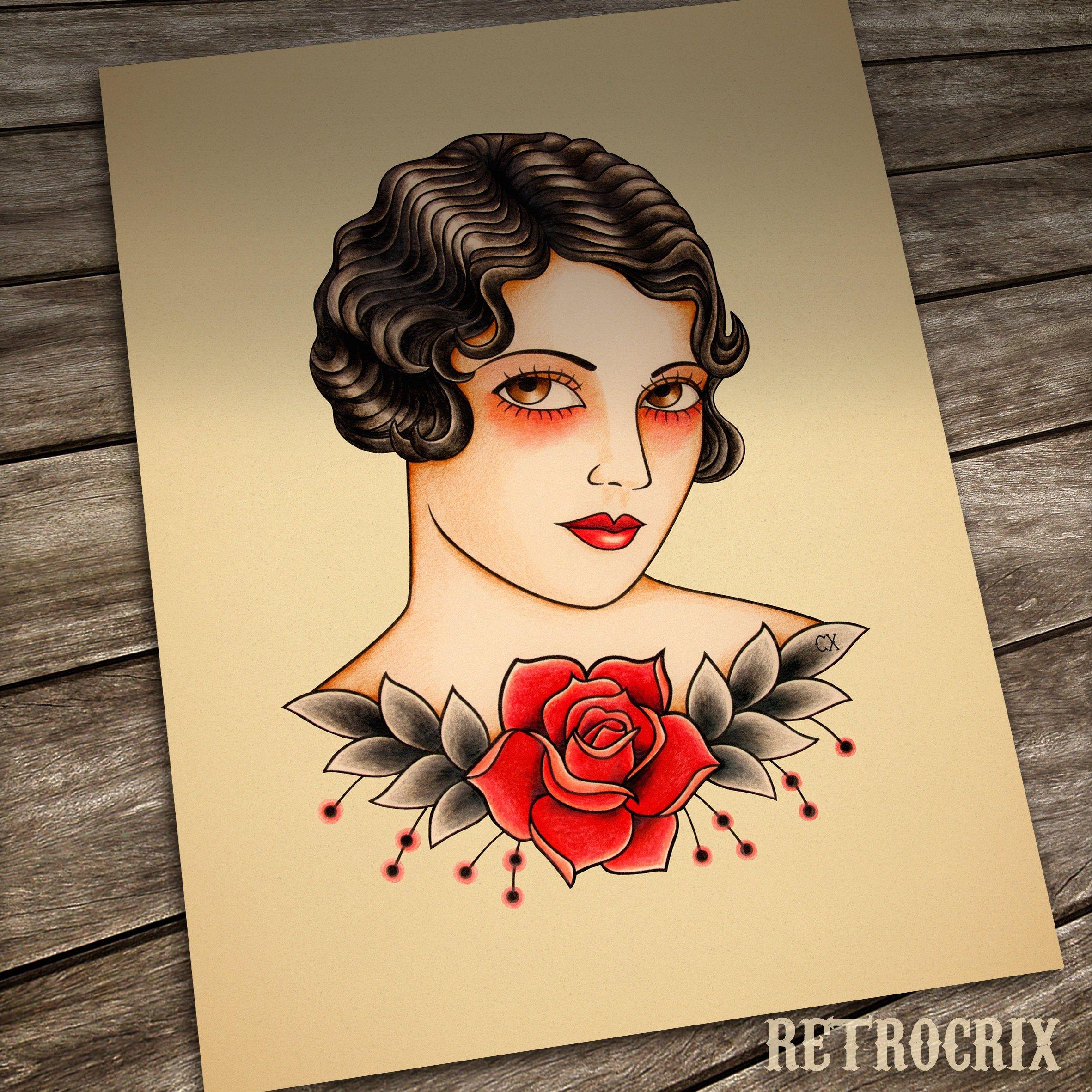 Vintage Woman Tattoo Print By Retrocrix Old School Tattoo Tattoos For Women Tattoo Illustration