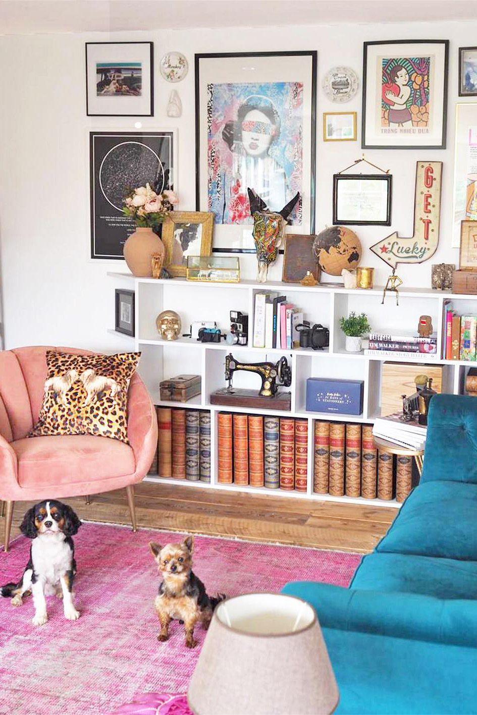 Color Filled Living Room Bright Vintage Pink Rug Meets Its Match