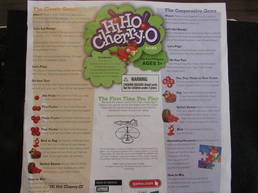 2007 Hi Ho Cherry O Directionsinstructions Sheet English And