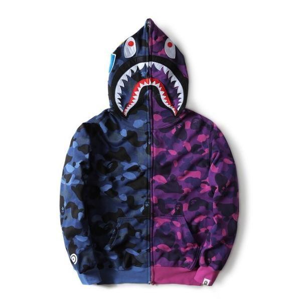 7f6c6eb23b4f BAPE Cross Camo Blue Shark Hoodie BAPE Cross Camo Blue Shark Hoodie that  have all the tags