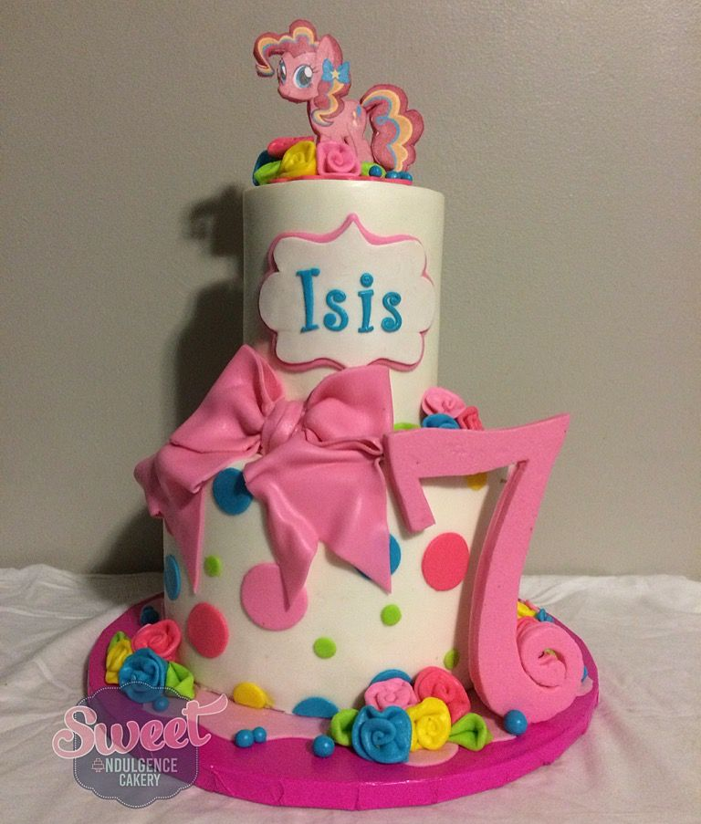 Fabulous My Little Pony Cake Pinkie Pie Cake 7Th Birthday Cake With Personalised Birthday Cards Epsylily Jamesorg