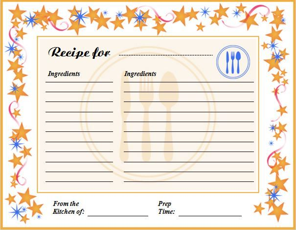 Creative Professional Cooking Recipe Card Template  Word Business