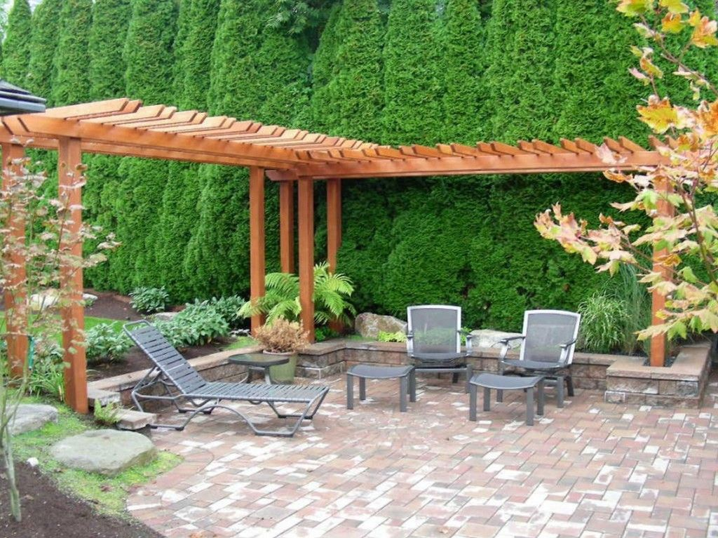 awesome decorating backyards ideas with wooden gazebo as well plant fence and elegant lounge chair on stone floor along with garden in the nearby