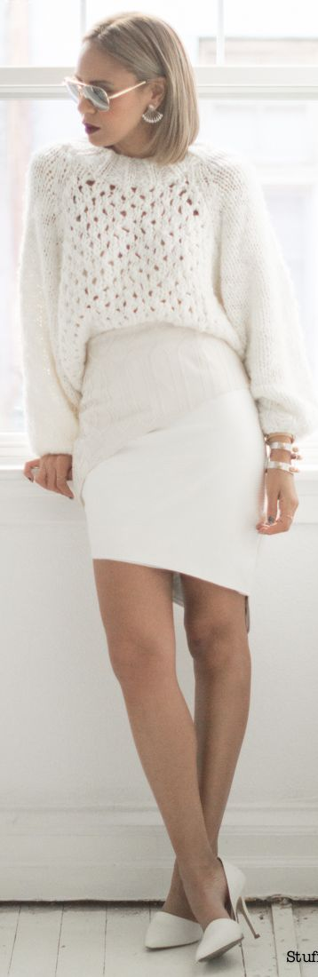 White Cable Knit Oversize Sweater