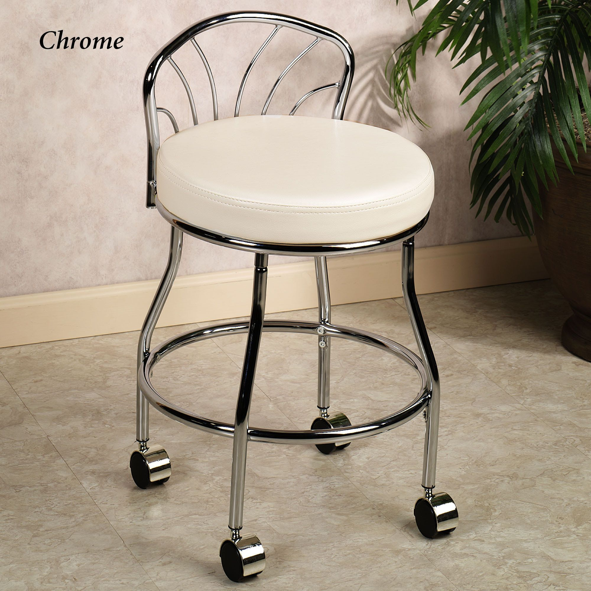 Flare Back Metallic Finish Vanity Chair With Casters Vanity