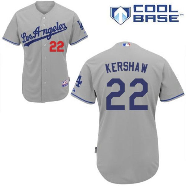 6a9d28097 Men s Authentic - Majestic Los Angeles Dodgers  22 Clayton Kershaw Grey  Road Cool Base Jersey