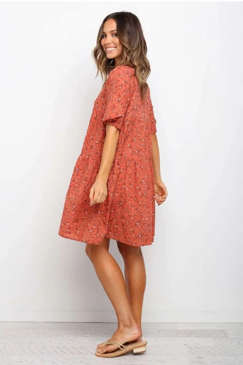 Casual Print V Neck Short Sleeve Shift Dresses Short Sleeve Shift Dress Maxi Dress With Sleeves Rust Dress [ 1185 x 790 Pixel ]