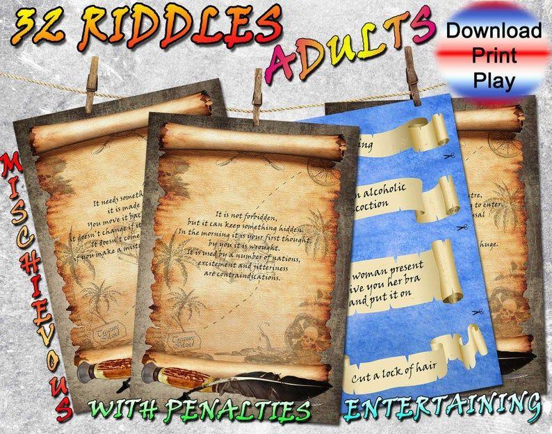 Adults Treasure hunt clues to print birthdays games pdf