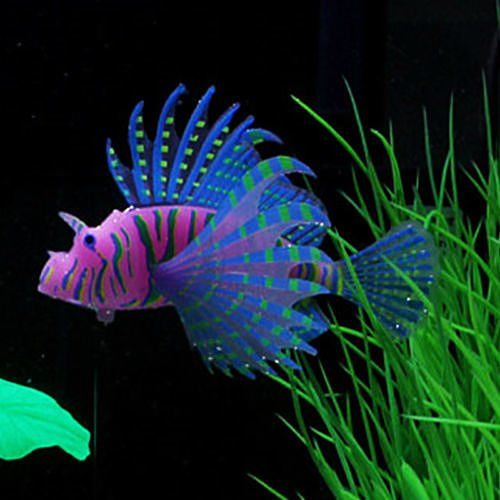 Try this new lionfish s blue aquarium fish tank landscape for Glow fish tanks