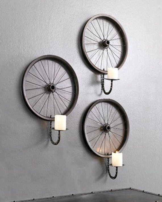 bicycle wheel wall candle holder base diy ways to recycle bike rims