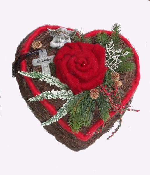 Grabgesteck Herz* Eine liebevolle Dekoration für Ihr Grab, als - rose aus stein deko