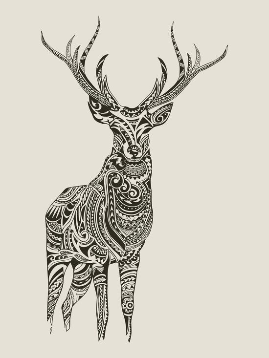 polynesian deer art print art pinterest deer art printing and tattoo. Black Bedroom Furniture Sets. Home Design Ideas