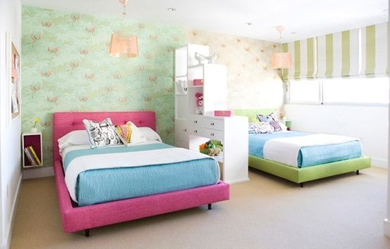 Twins Room I Like The Divider Functional And Organized Shared Girls Room Boy And Girl