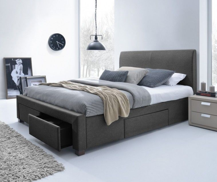 Upholstered Queen Storage Bed In Dark Grey Combined With Light Grey Painted  Wall As Well As Wooden Queen Bed Frames With Storage Also Platform Bed  Frames ...