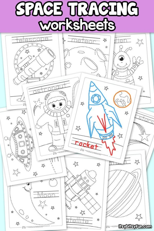 Space Tracing Worksheets  Itsy Bitsy Fun is part of Space preschool - We've got some new and exciting printable worksheets for you today! These free Space Tracing Worksheets are such a great resource for your young learners  Not only does this space tracing worksheets help kids learn how to follow lines of a picture, they also help them learn how to trace words and letters and learn   Read More »