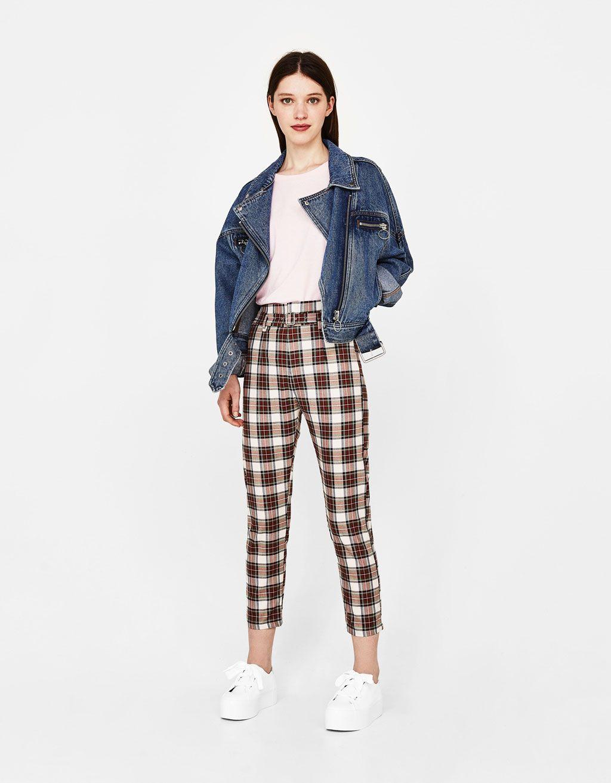 nuevo estilo 50-70% de descuento precio bajo Checked slim fir trousers with belt - Bershka #fashion ...