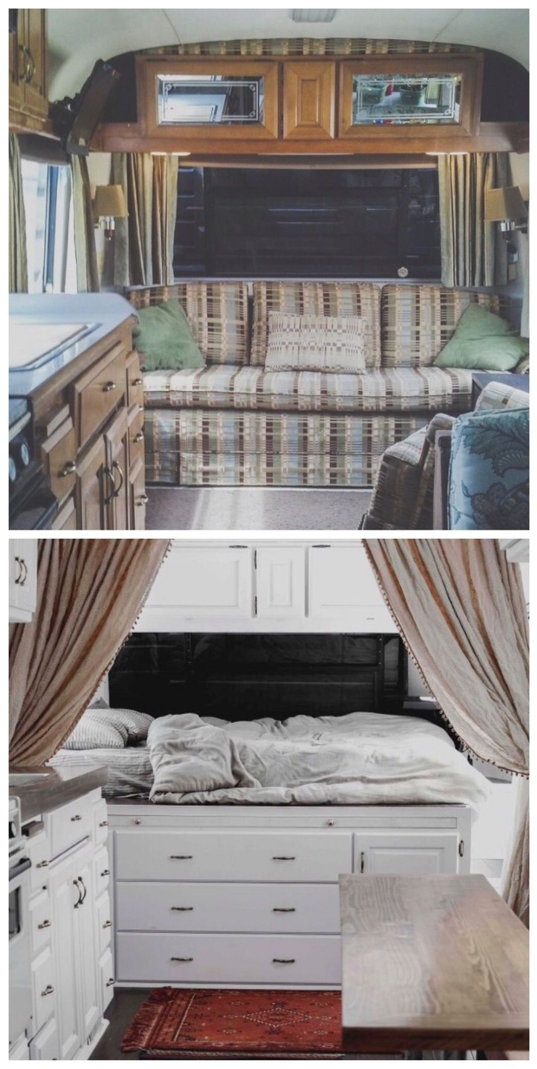 45 Amazing Tiny Camper Remodel Ideas With Before And After Picture Remodeled Campers Vintage Camper Remodel Camper Trailer Remodel