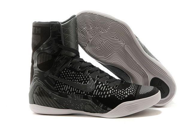new style eb6c9 68b8c Mens Nike Kobe 9 Elite High Top Charcoal Grey Black White
